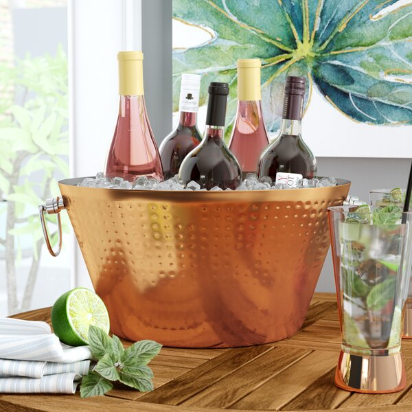 Chrysanthemum Double Walled Hammered 100% Insulated Steel Luxury Beverage Tub by Mint Pantry